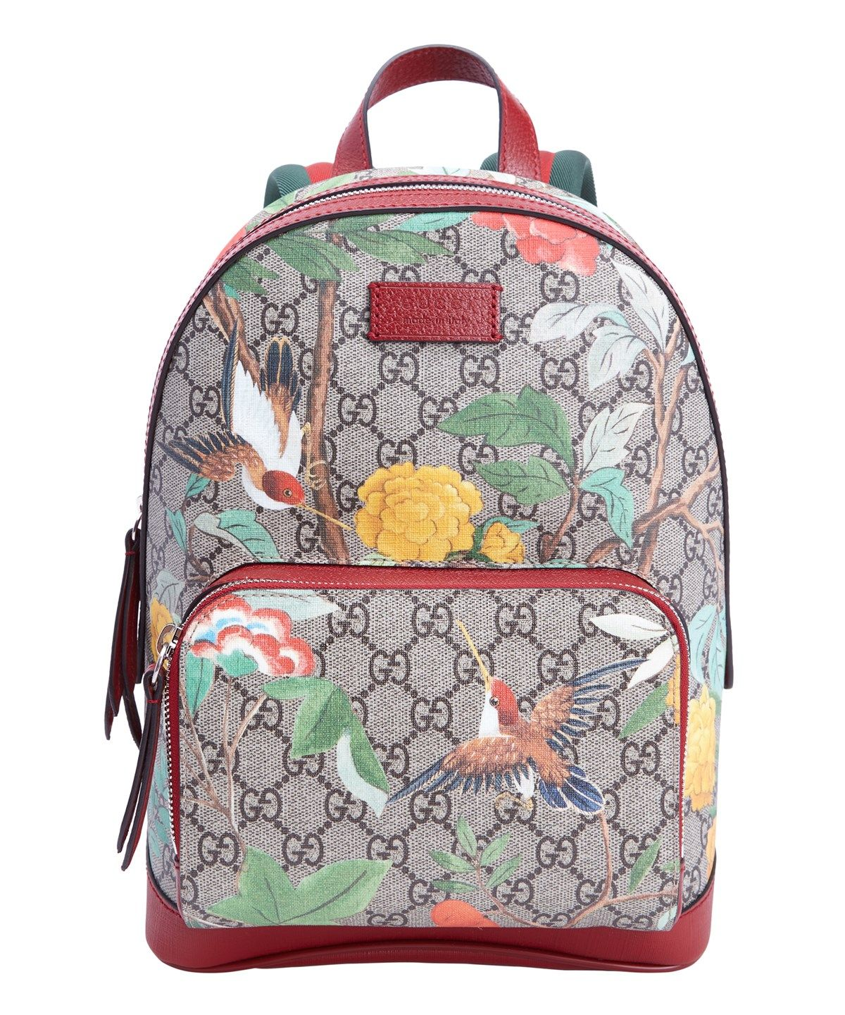 43235077b1d8 GUCCI Red Leather And Tian Print Gg Canvas Small Backpack .  gucci  bags   leather  lining  canvas  backpacks