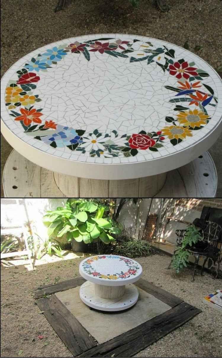 Mosaik Im Garten Ideen Fur Mosaiktisch Gartendeko Und Gartenweg