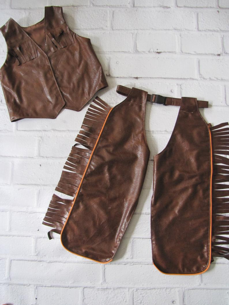 Brown Western Chaps /& Vest Cowgirl Costume Adult Women Cowboy Faux Leather