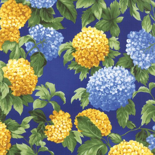 Summer Breeze III Hydrangeas Royal Blue Moda Quilt Fabric by the1 ... : hydrangea quilt fabric - Adamdwight.com