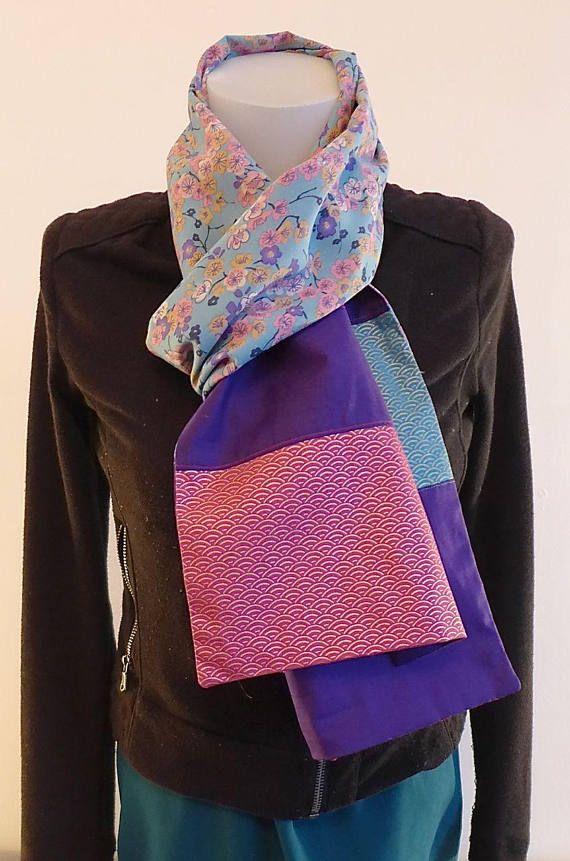 Foulard Etole Echarpe violet turquoise à fleurs roses et tissu japonais    Création Mode Japon   471561b9893