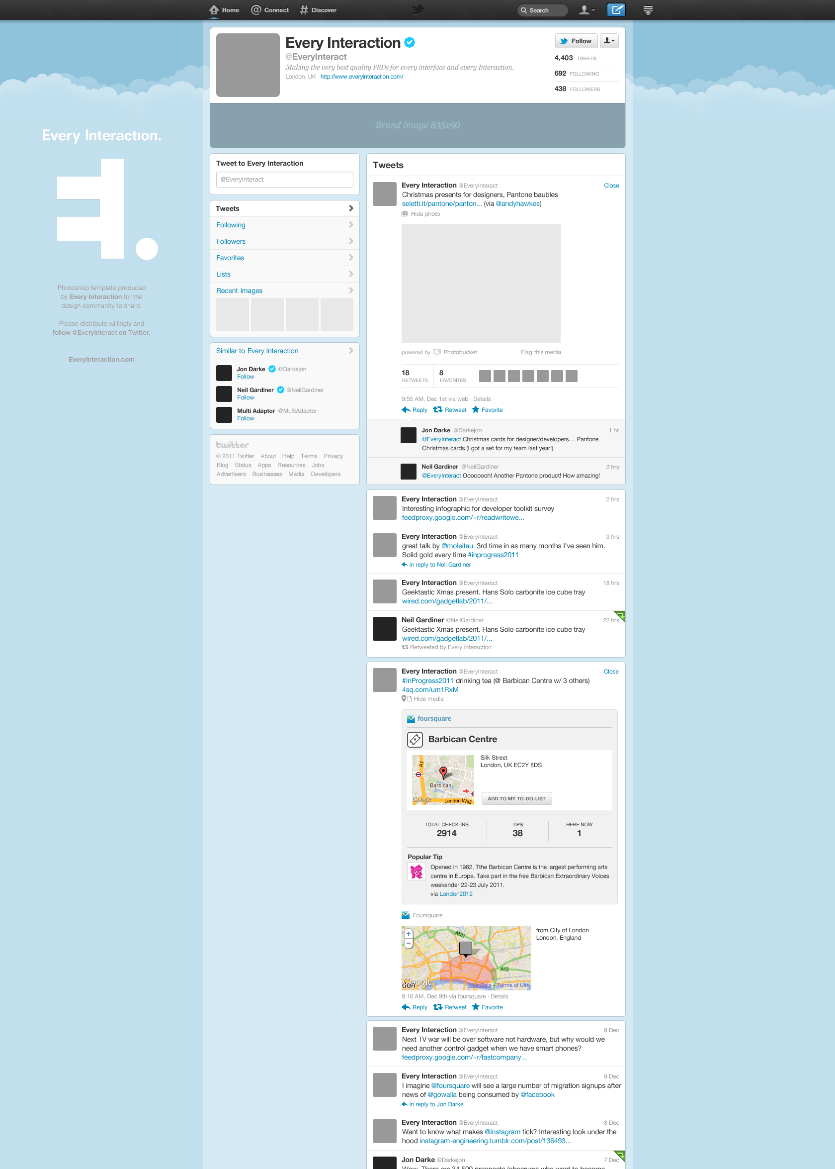 Free New Twitter Profile Page GUI PSD Web design tools