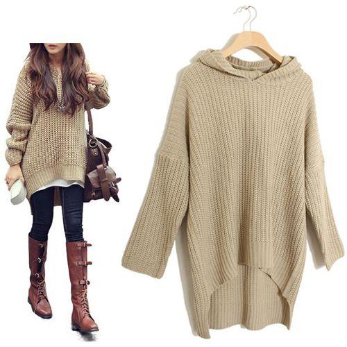 616175cb29 Sweater Hooded Irregular Bottom HemBust  Width  CasualFabric  Acrylic +  WoolNeckline  HoodedSleeve Length  Long SleeveOccasion  CasualSeason   Spring