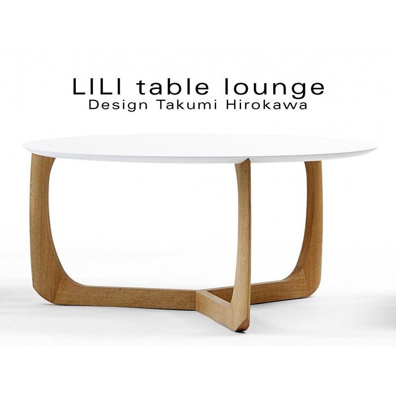 Lili Table Basse Lounge Ronde Pietement Chene Massif Huile