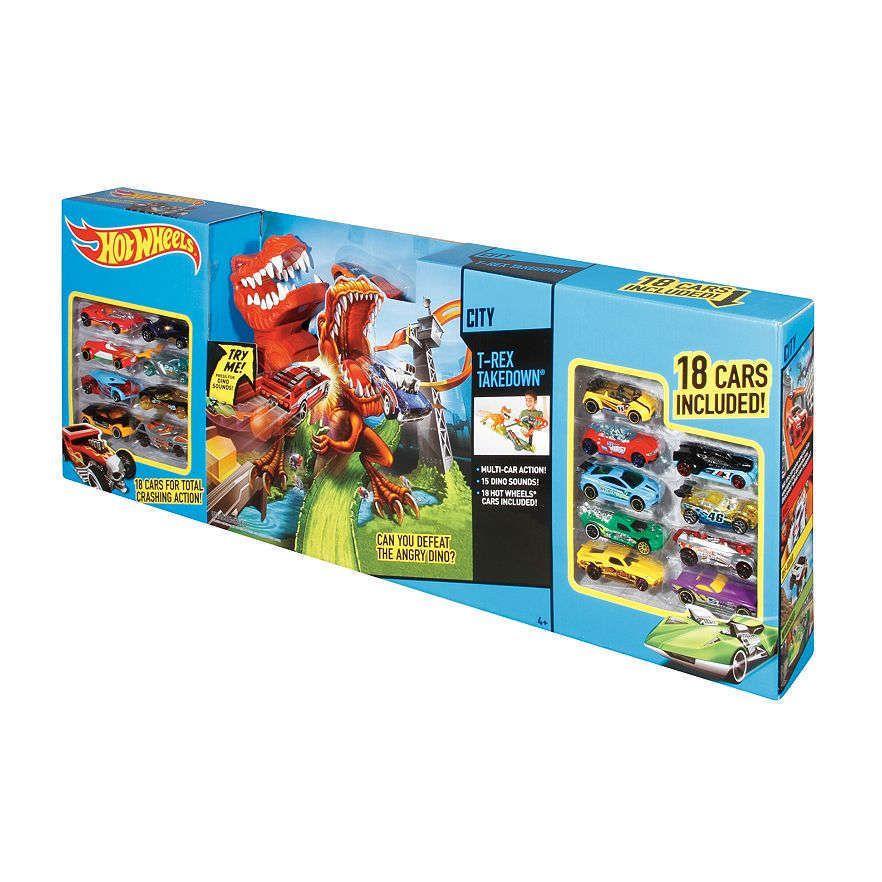 Hot Wheels T-Rex Takedown Set Playset with 18 Bonus Cars NIB Mattel #Mattel #NA