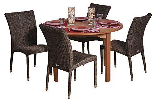 Amazonia Lemans Oval Eucalyptus And Wicker Dining Set Seats 6 ...