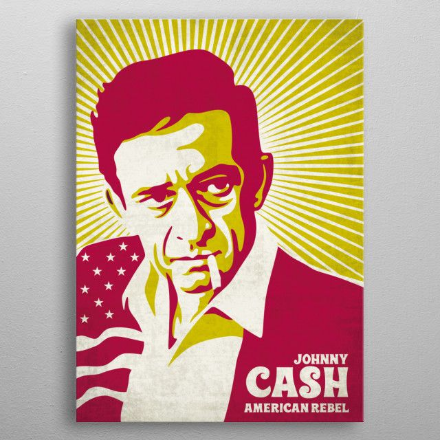johnny cash vintage poster inspired by the american rebel metal poster | Displate thumbnail