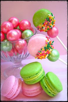 "The ""Amy Atlas"" Macaron Pop~ Dipped Macaroons Rolled in Sprinkles~ on a Stick with Matching Gum Balls!!!"