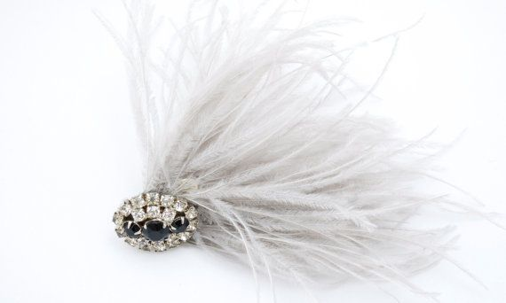 1920's Style Ostrich Feather Hair Clip by #DOTTIEandROSE
