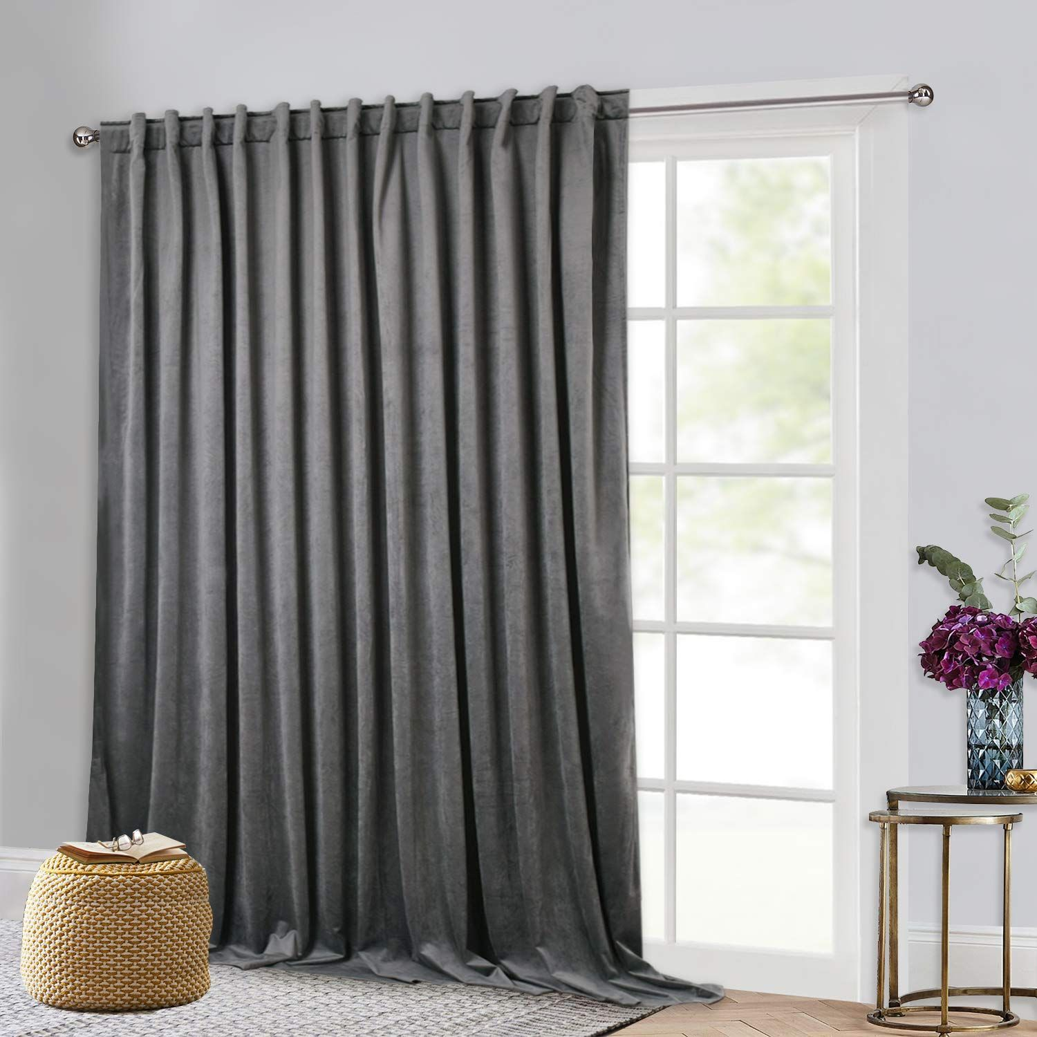 Grey Velvet Curtains For Sliding Door Sunlight And Heat Reducing Large Window Curtains Heavy Dut Sliding Door Curtains Velvet Curtains Living Room Patio Doors