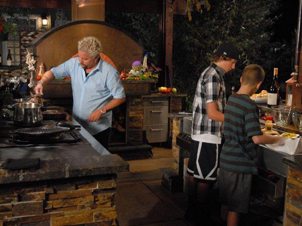 Guy Fieri Outdoor Kitchen | Guyu0027s Big Bite Back Yard Mediterranean Surf U0026  Turf.mp4   YouTube | Outdoor Kitchen Ideas | Pinterest | Guy Fieri, Bbq  Island And ...