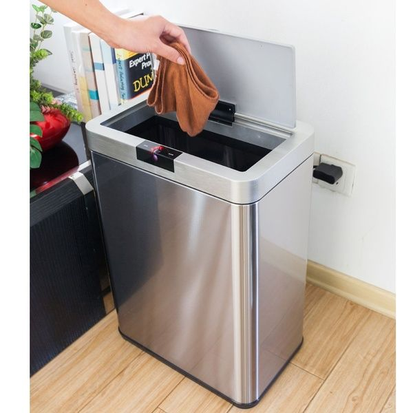 Automatic Touch Free Trash Can 13 Gallon Stainless Steel Kitchen Bin Garbage 50r Wish Trash Can Kitchen Trash Cans Kitchen Bin