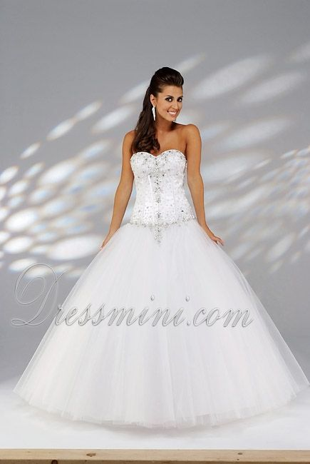 White Ball Gown Sweetheart Long/Floor-length Quinceanera Dress For ...