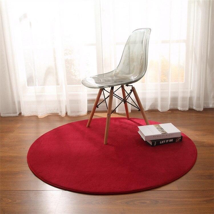 Alfombra De Suelo Solido Redonda Para Sala De Estar Alfombras De Terciopelo Coral Para Habitacion Round Carpet Living Room Round Carpets Floor Rugs Living Room