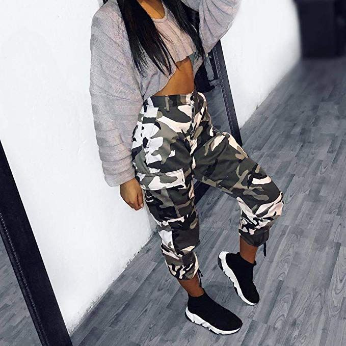 b1f50f59eb8b7 OVERDOSE Pantalon Chino à Imprimé Camouflage, Femme Grande Taille Casual  Slim Sport Jogging Taille Haute