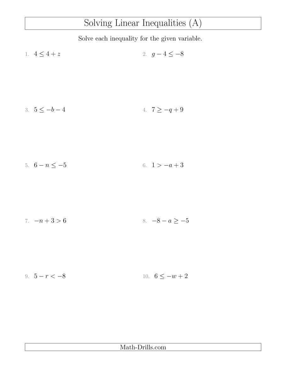 The Solving Linear Inequalities Including A Third Term A Math Worksheet From The Algebra Worksheets Page At Ma Linear Inequalities Math Worksheets Inequality