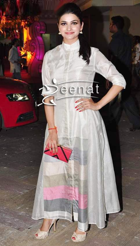 Prachi Desai poses in a simple plain Satin/Silk Anarkali Churidar ...