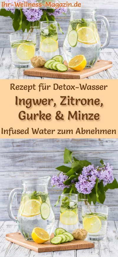 Ingwer-Zitronen-Gurken-Minze-Wasser - Rezept für Infused Water - Detox-Wasser