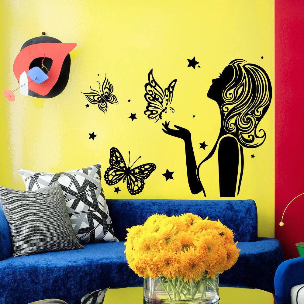 Wall Decal Fashion Beauty Salon Girl Hair Hairstyle Butterflies ...