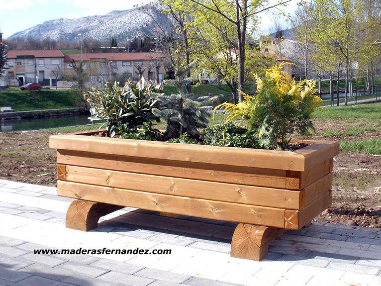 pasarelas papeleras y jardineras en madera tratada para exterior - Jardineras Exterior