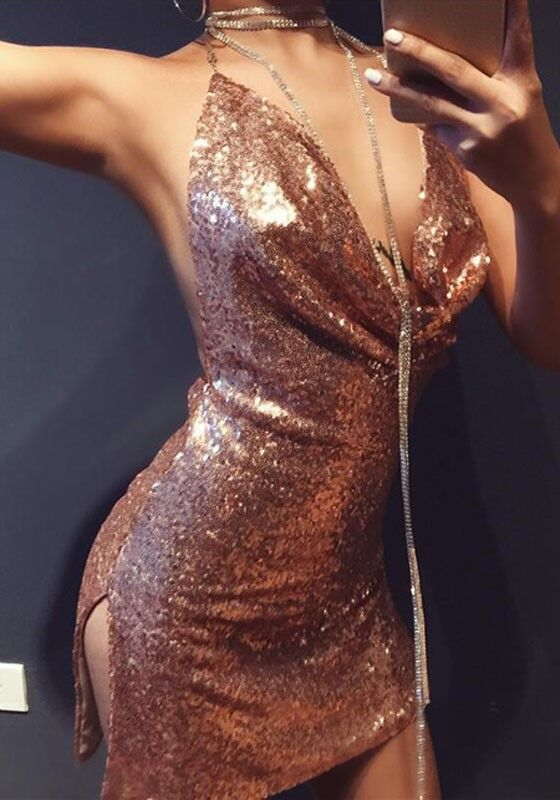 17593ae9 Rose Gold Plain Sparkly Sequin Draped Halter Neck Sexy Backless Club Mini  Dress