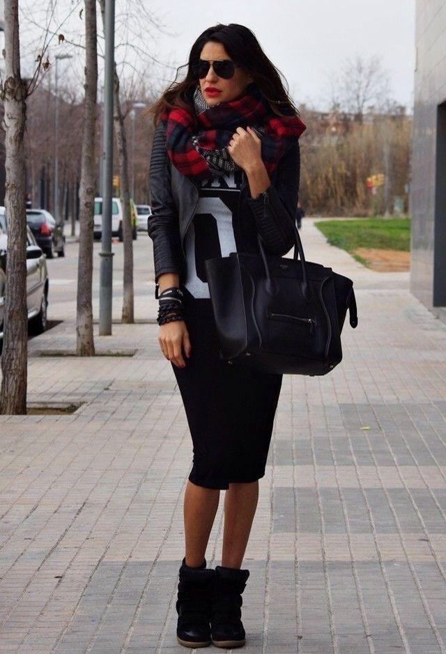 d9423508b9 Pencil skirt wedge sneakers