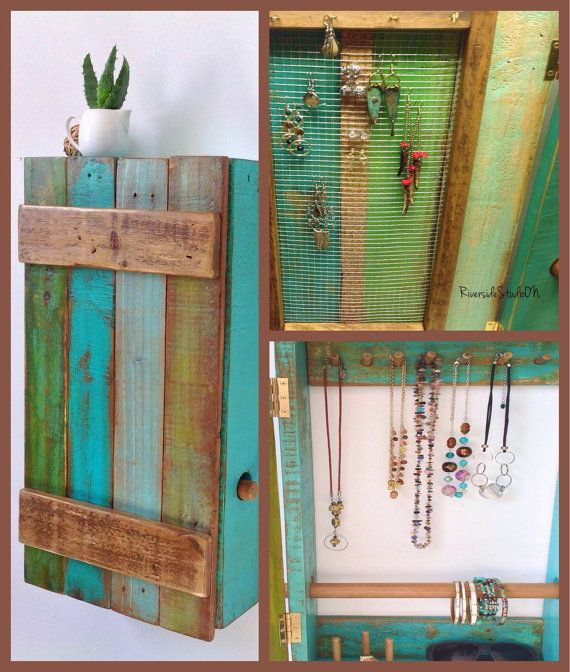 Teal and Green Hanging Wood Jewelry Organizer With Door and Bracelet