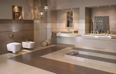 Badezimmer Mit Warmen Beige Braunen Nuancen Gestalten