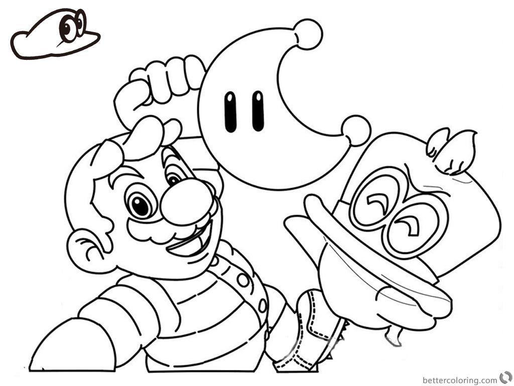 Free Super Mario Odyssey Coloring Pages Line Drawing Printable For