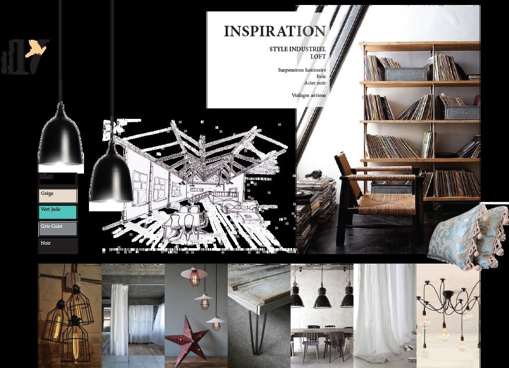 Planche d 39 ambiance pour salon th me loft style industriel planche d 39 ambiance d 39 inspiration for Couleur restaurant tendance