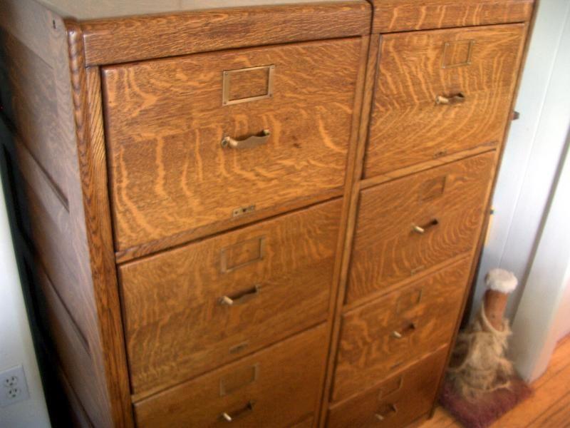 Best Twin American Quarter Sawn Oak File Cabinets For Sale 400 x 300