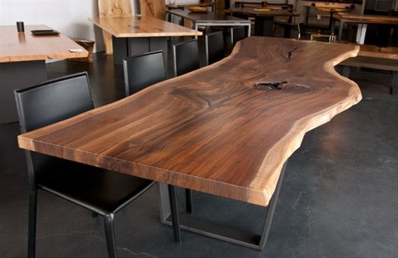 Urban Hardwoods Furniture Los Angeles Walnut Slab Dining Table With Images Wood Slab Table Wood Dinner Table