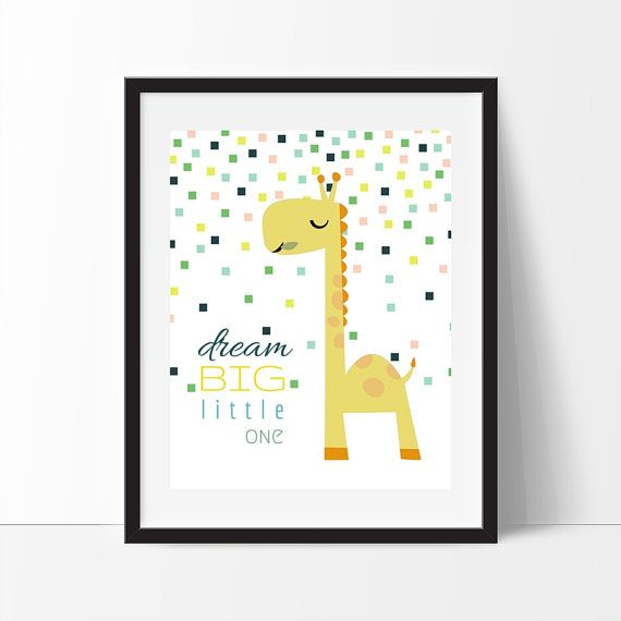 Dream Big Little One Giraffe Print Giraffe by belovedboutiquewpg