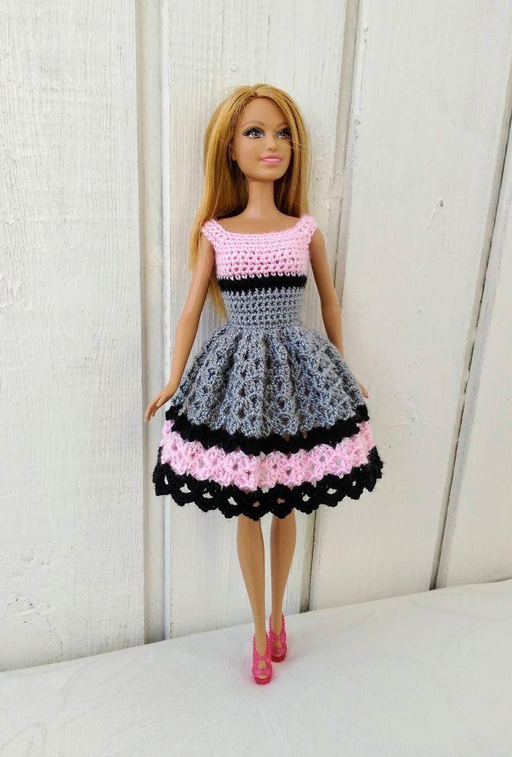 Barbie Kleidung Barbie Crochet Dress für Barbie-Puppe  #barbie #crochet #dress #handknitclothes #kleidung #puppe #dolldresspatterns