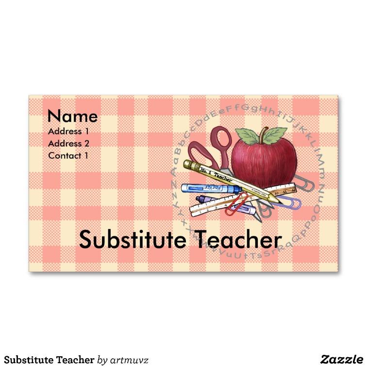 Substitute Teacher Business Card Template SchoolTeachersStudents - Substitute teacher business card template