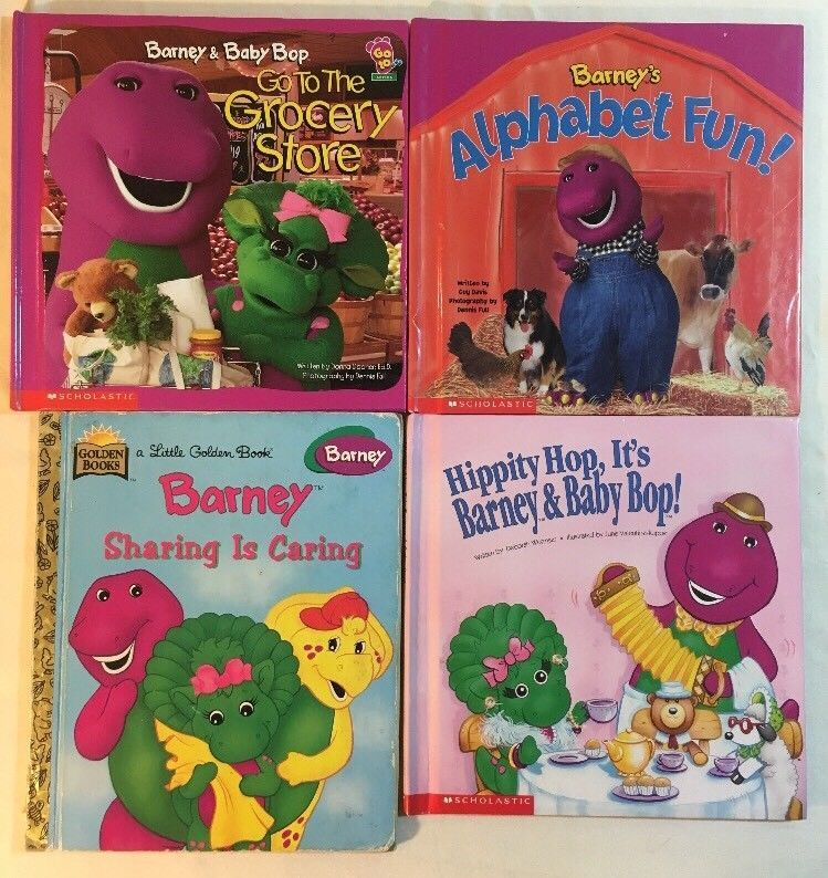 Barney Books Lot Of 4 Alphabet Fun Grocery Store Sharing Hippity Hop Barney Fun Grocery