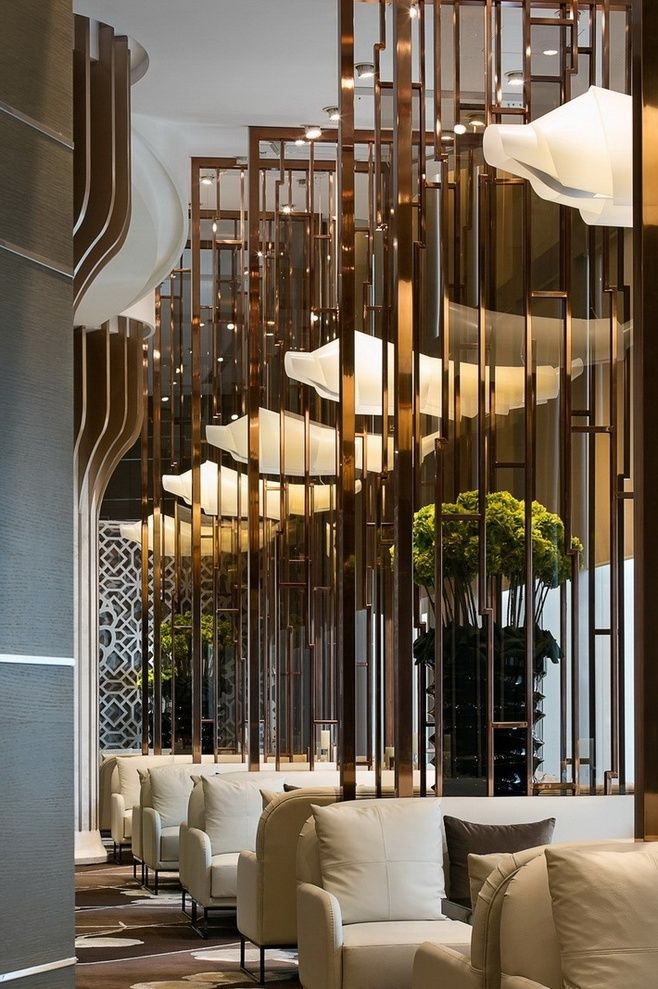 Brass Partition Restaurant Interior Design Hotel Interior
