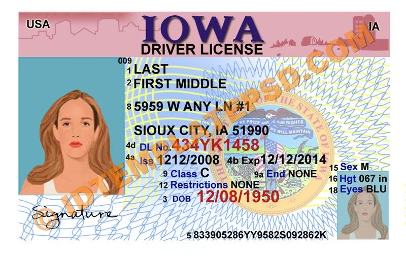this is iowa  usa state  drivers license psd  photoshop