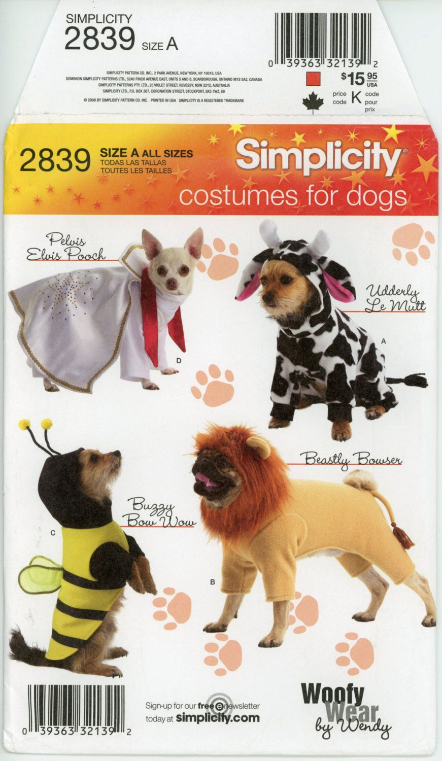 Simplicity 2839 Dog Costume Pattern Elvis Lion Bumble Bee and Cow ...