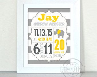 "Personalized Baby Birth Announcement Canvas for any childs room. This is a 10X12 Custom Birth Announcement. Personalized wall art for any little boys, or nursery. Send me a message via ETSY conversations with any questions.  TO ORDER -------------------------------------------------  Add item to your cart and in the ""message to seller"" box please provide the following: - Childs full name - Birth date - Weight - Length - Time of birth - Choice of color for details LARGER PRINT…"