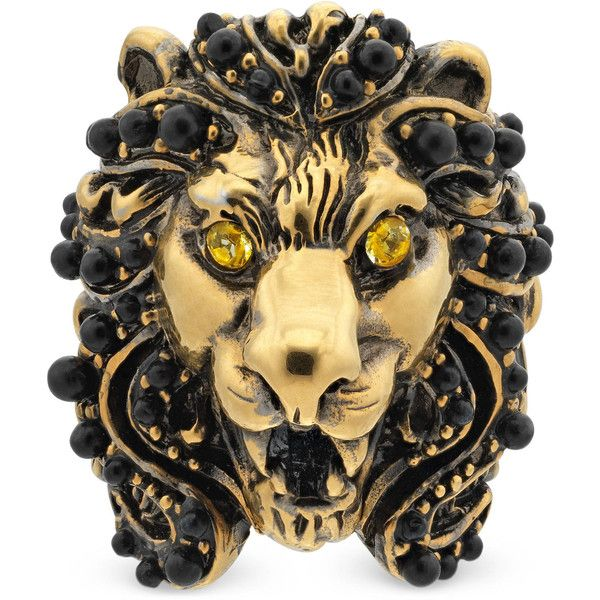 3ef3d6a57 Gucci Lion Head Ring With Crystals ($390) ❤ liked on Polyvore featuring  jewelry, rings, fashion jewellery, gold, jewellery & watches, mens lion  head ring, ...