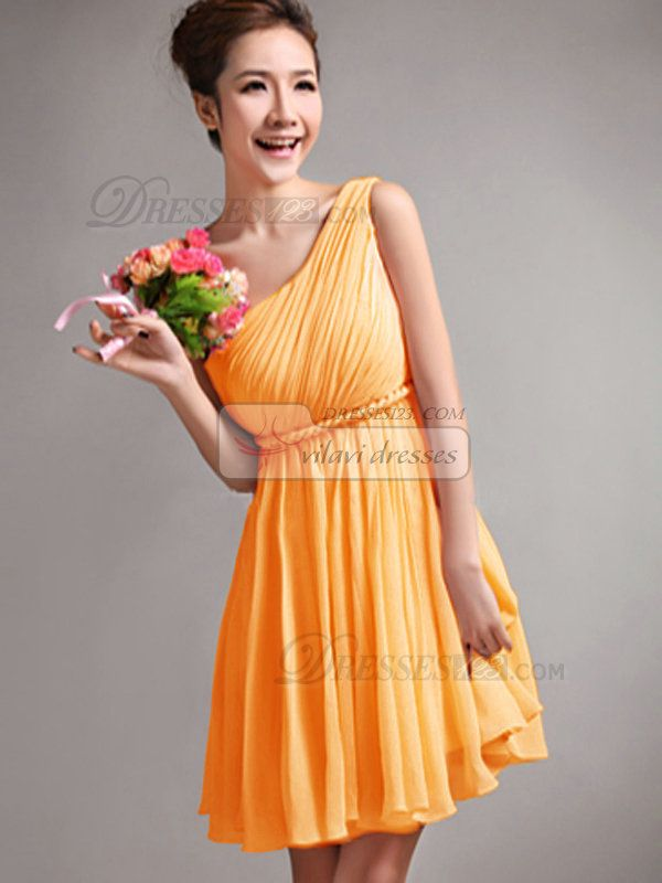 680327ddf0f A-Line One Shoulder Draped Short Orange Bridesmaid Dresses - US  79.05
