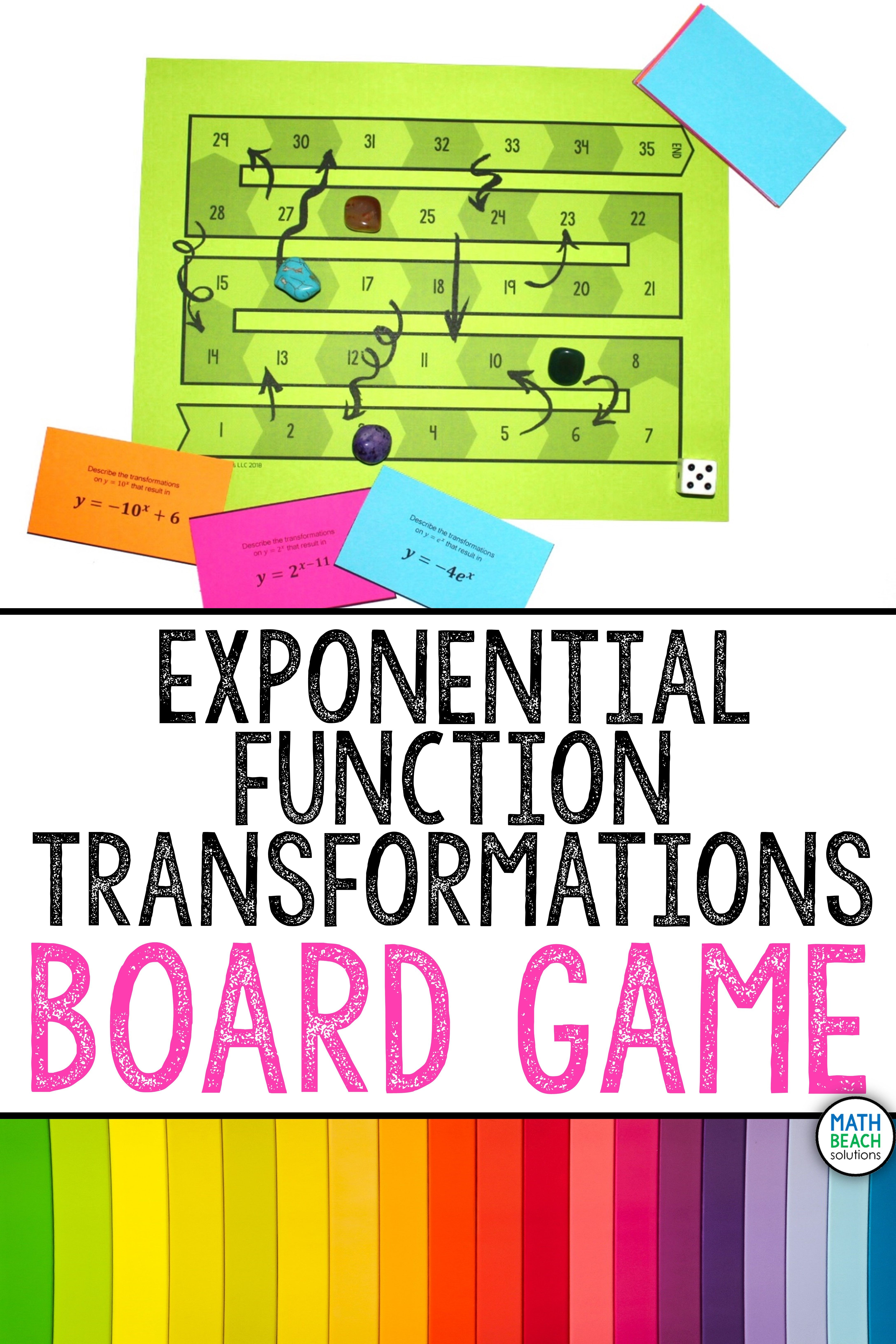 Exponential Function Transformations Board Game Activity Algebra Activities Exponential Functions Algebra 2 Activities