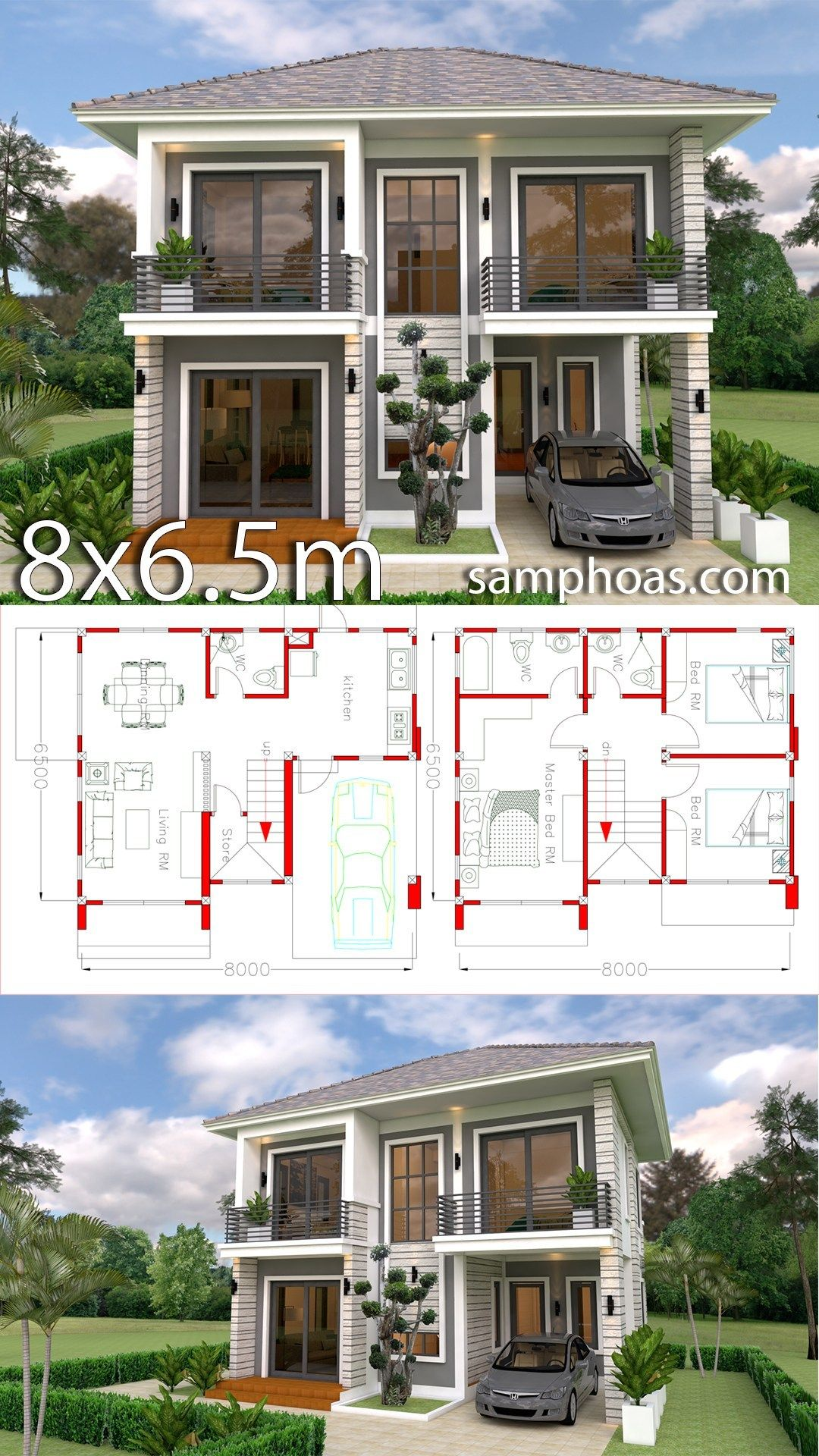 Home Design Plan 8x6 5m With 3 Bedrooms Samphoas Plansearch Model House Plan Simple House Design Sims House Plans