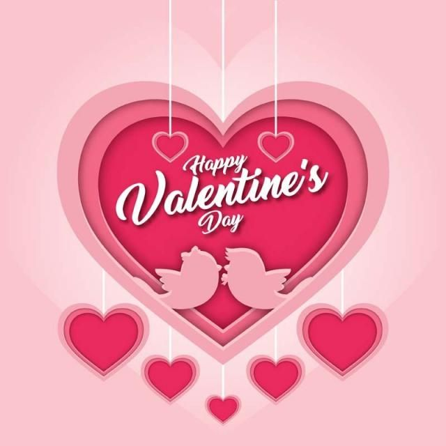 Modern Romantic Love Bird Kissing Couple Happy Valentine Card Vector And Png Happy Valentines Card Happy Valentines Day Card Valentines Cards