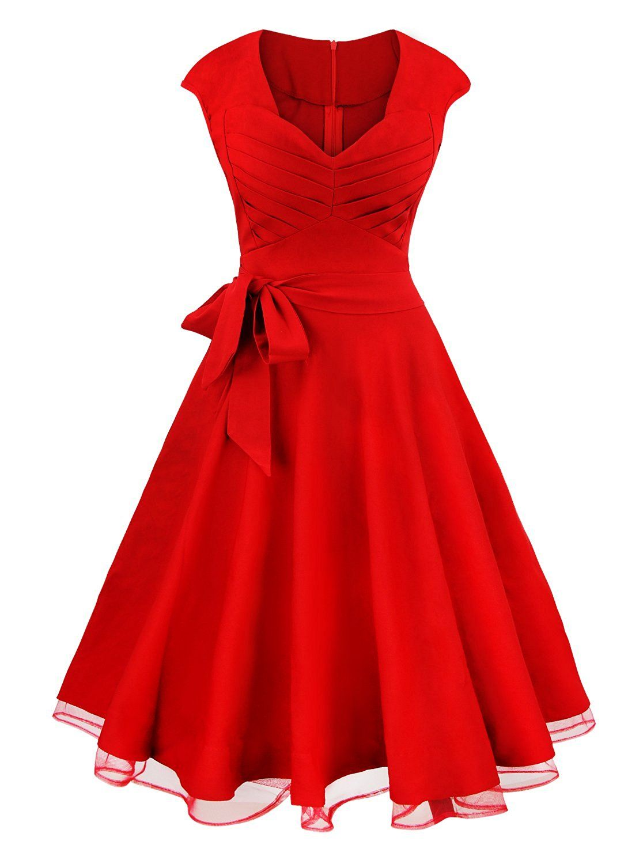 Amazon.com: Killreal Women\'s Elegant Sleeveless Vintage 1950s V-Neck ...