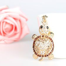 Cute Tortoise Pendant Crystal Purse Bag Key Ring Chain Creative Accessories Gift
