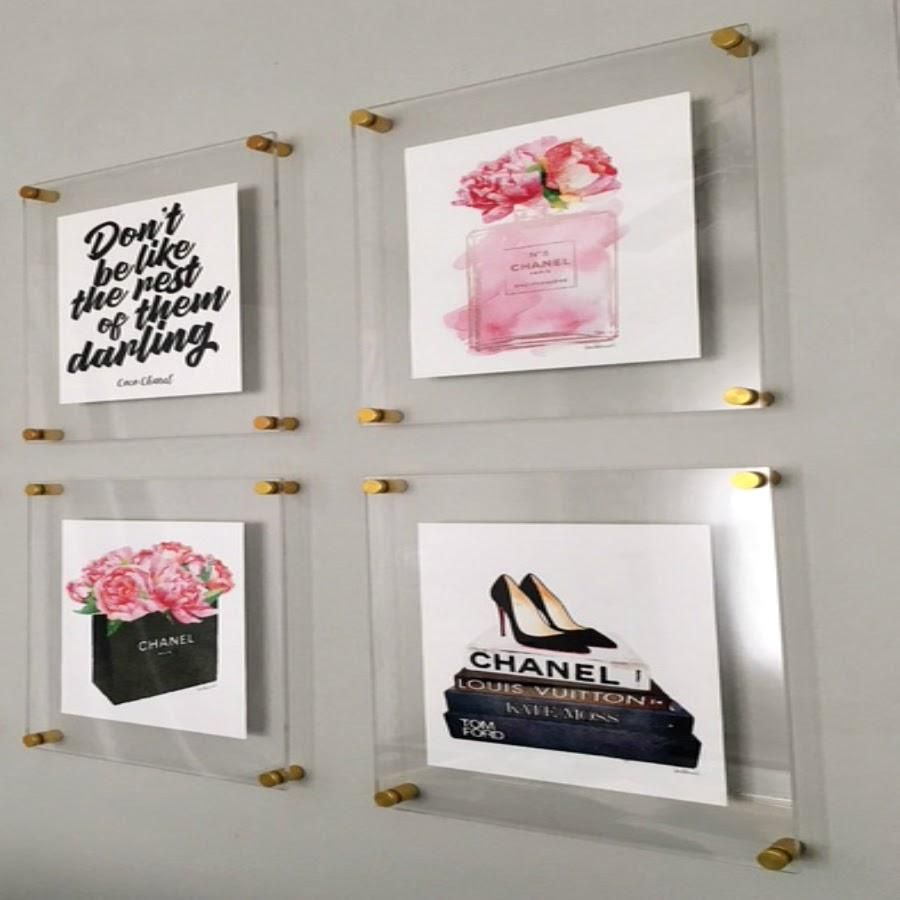 Acrylic Frames With Gold Standoff Bolts Acrylic Frames Frames On Wall Floating Picture Frames