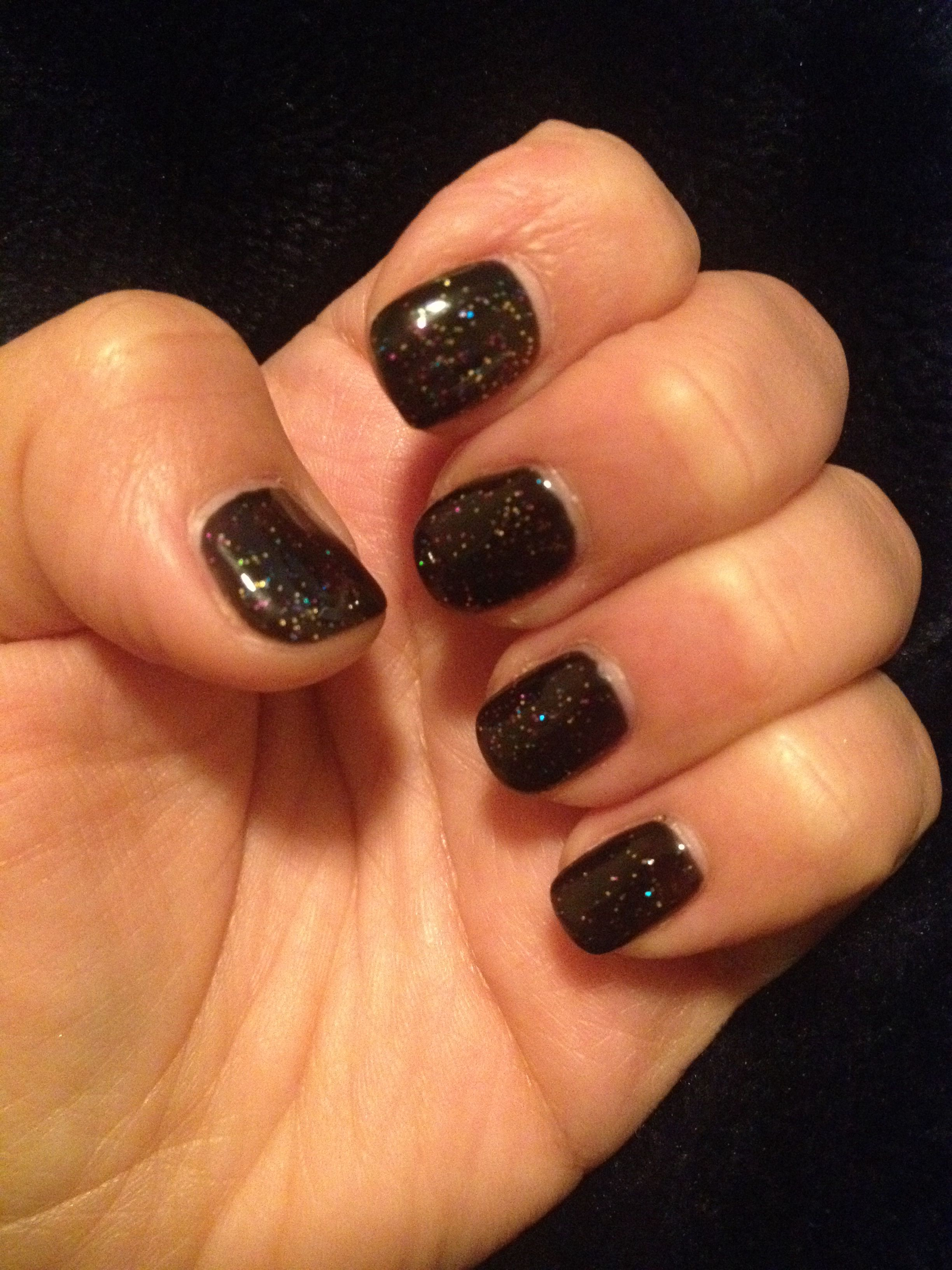Loving My New Years Shellac Nails Black With Glitter