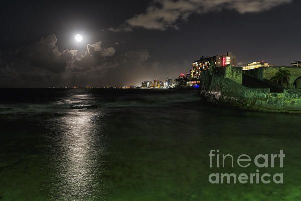 Night Scenic View of Ocean Front Buildings of Condado and Fort San Geronimo, Puerta de Tierra, San Juan, Puerto Rico.